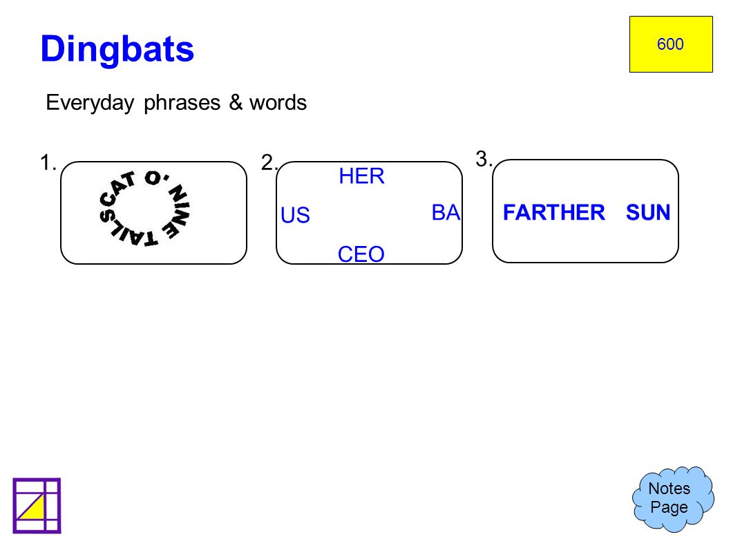 Dingbats Everyday phrases & words 1. 2. 3. HER US BA FARTHER SUN CEO
