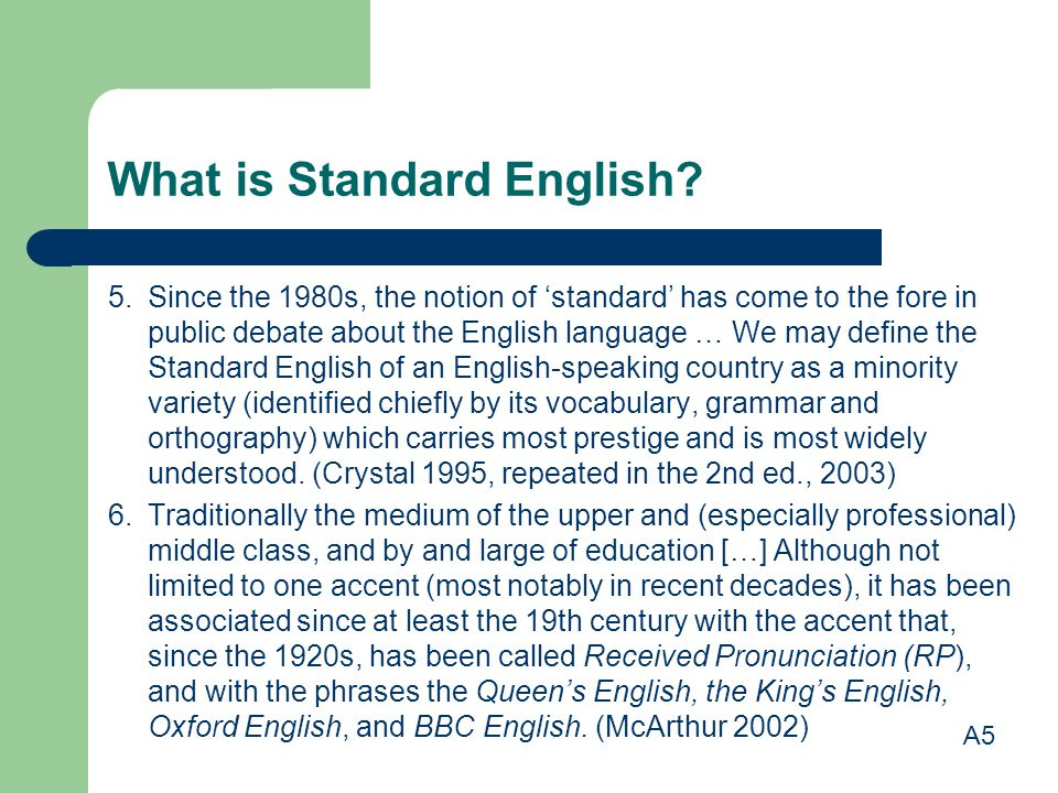What is Standard English