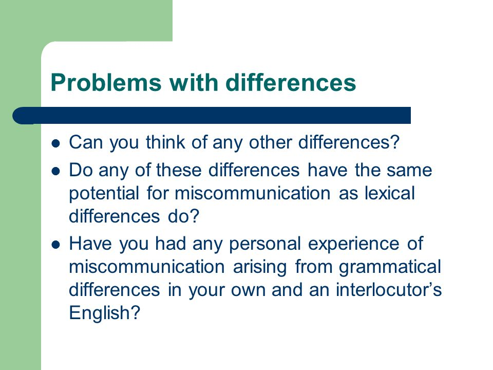 Problems with differences