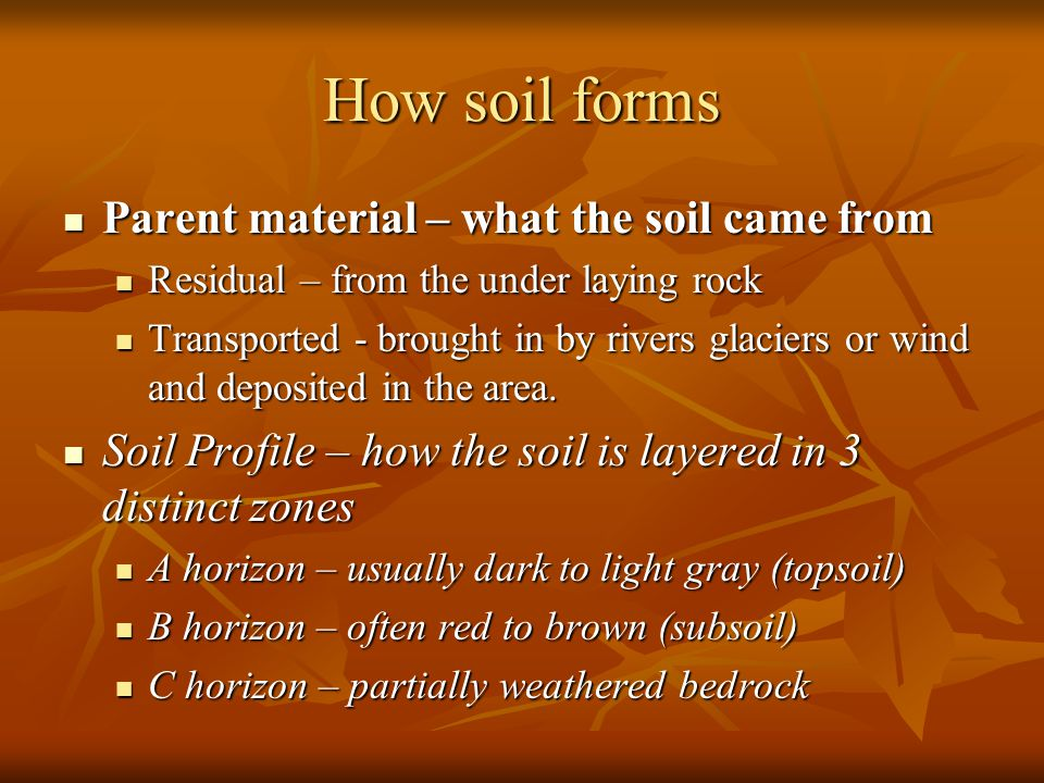 How soil forms Parent material – what the soil came from