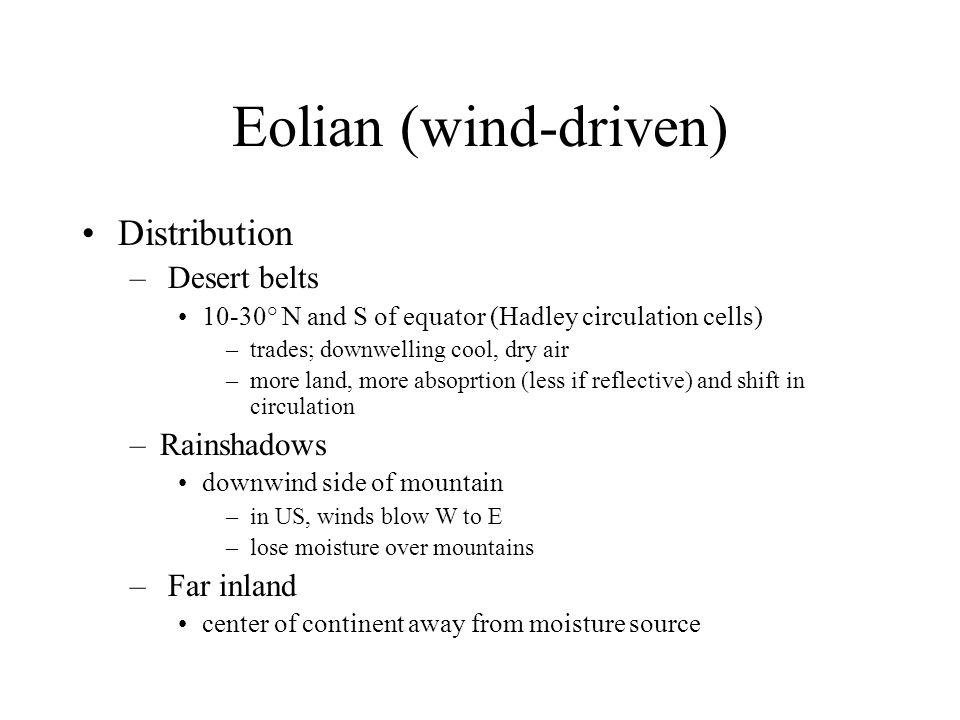 Eolian (wind-driven) Distribution Desert belts Rainshadows Far inland