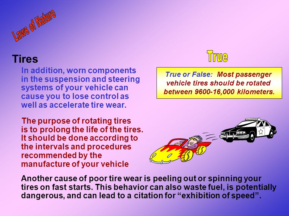True or False: Most passenger vehicle tires should be rotated