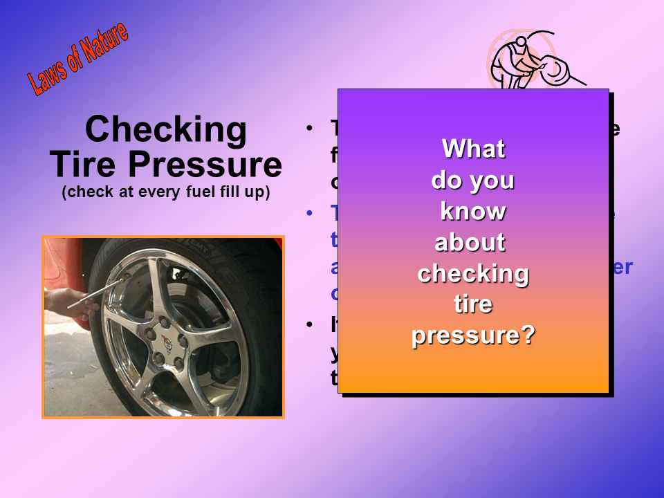 Checking Tire Pressure (check at every fuel fill up)