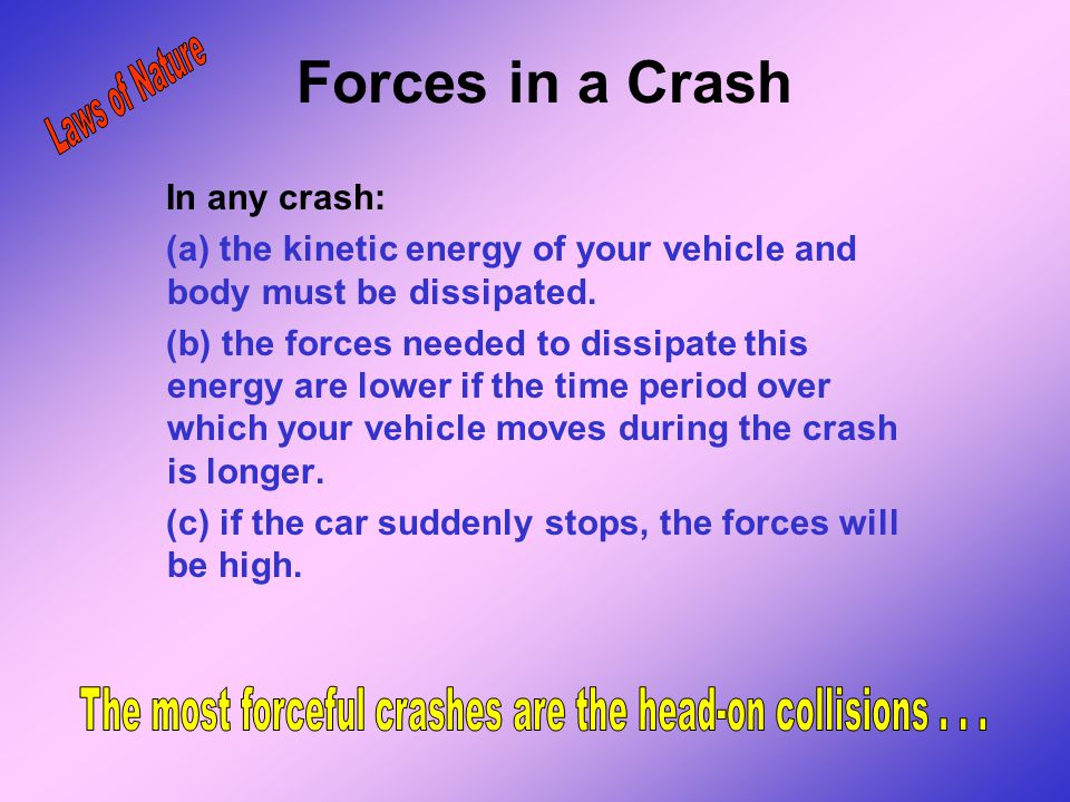 The most forceful crashes are the head-on collisions . . .