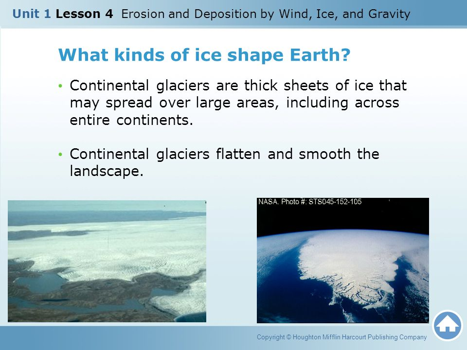 What kinds of ice shape Earth