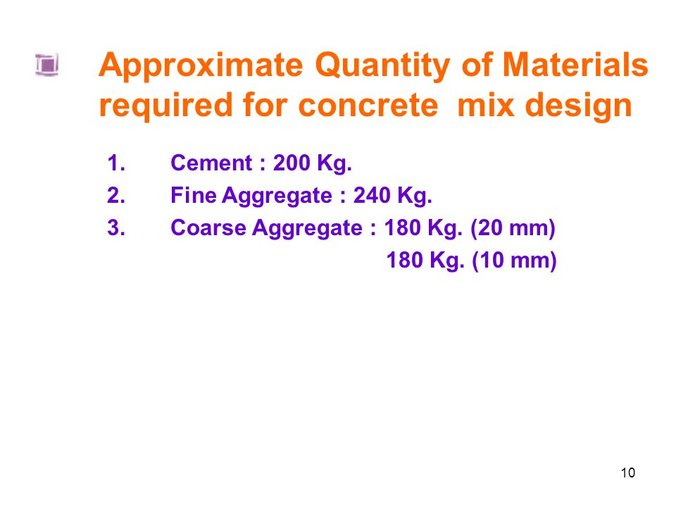Approximate Quantity of Materials required for concrete mix design