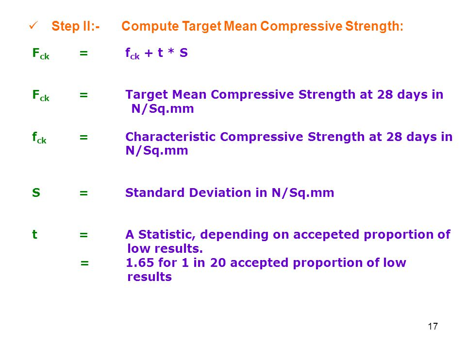Step II:- Compute Target Mean Compressive Strength: