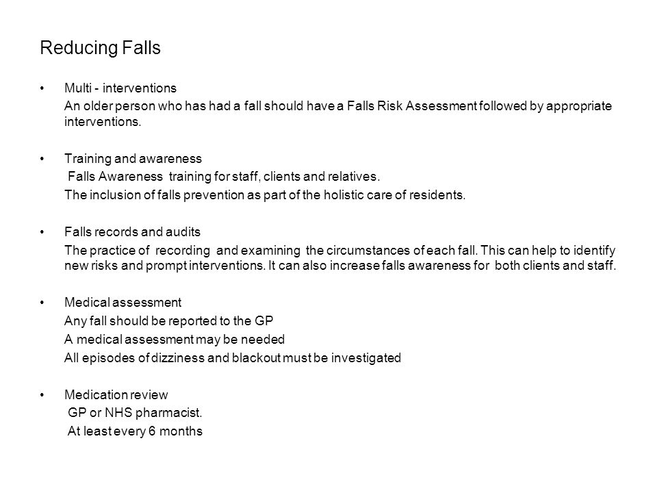 Reducing Falls Multi - interventions