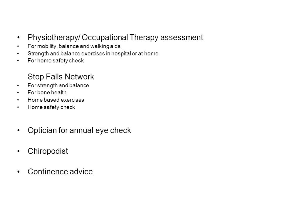 Physiotherapy/ Occupational Therapy assessment