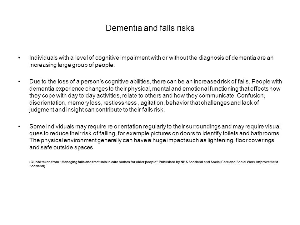 Dementia and falls risks
