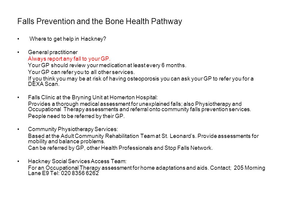 Falls Prevention and the Bone Health Pathway