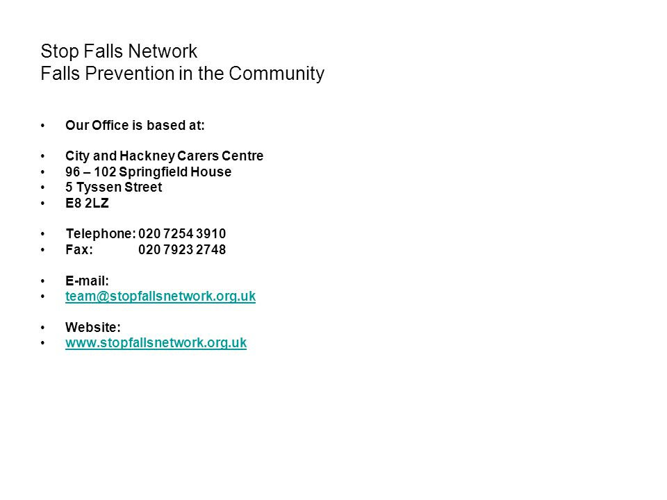 Stop Falls Network Falls Prevention in the Community