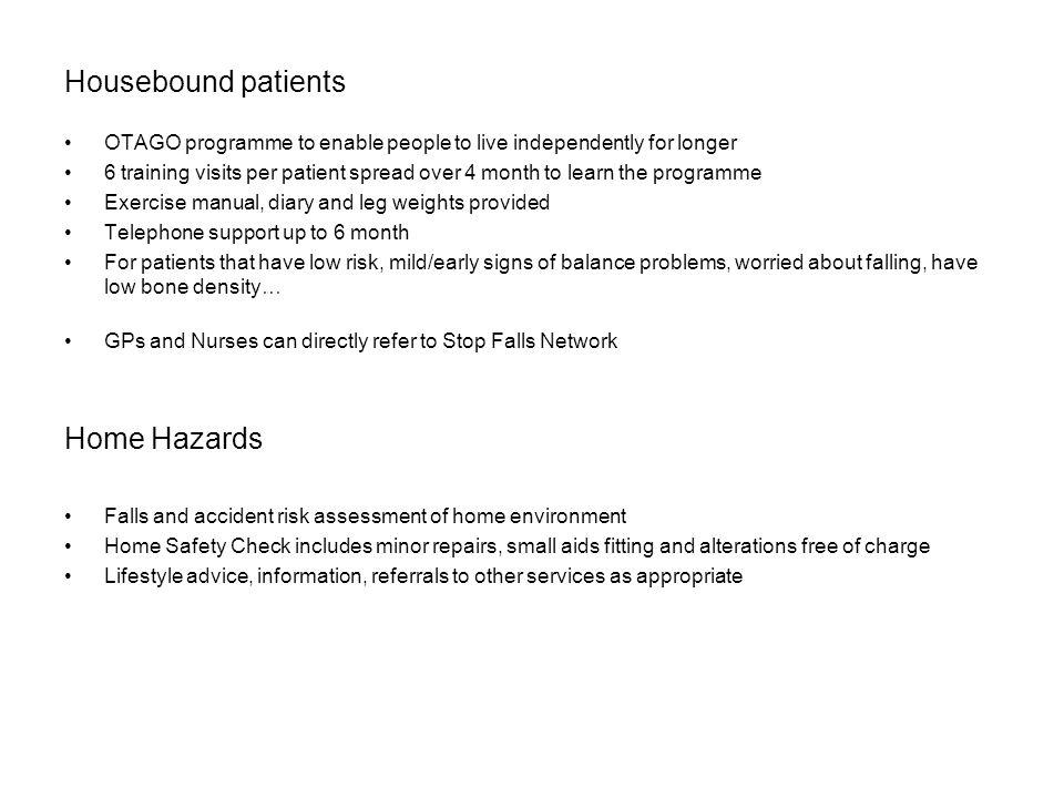 Housebound patients Home Hazards