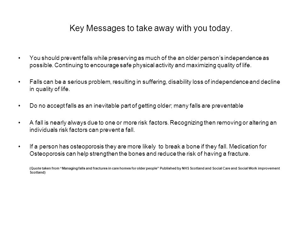 Key Messages to take away with you today.