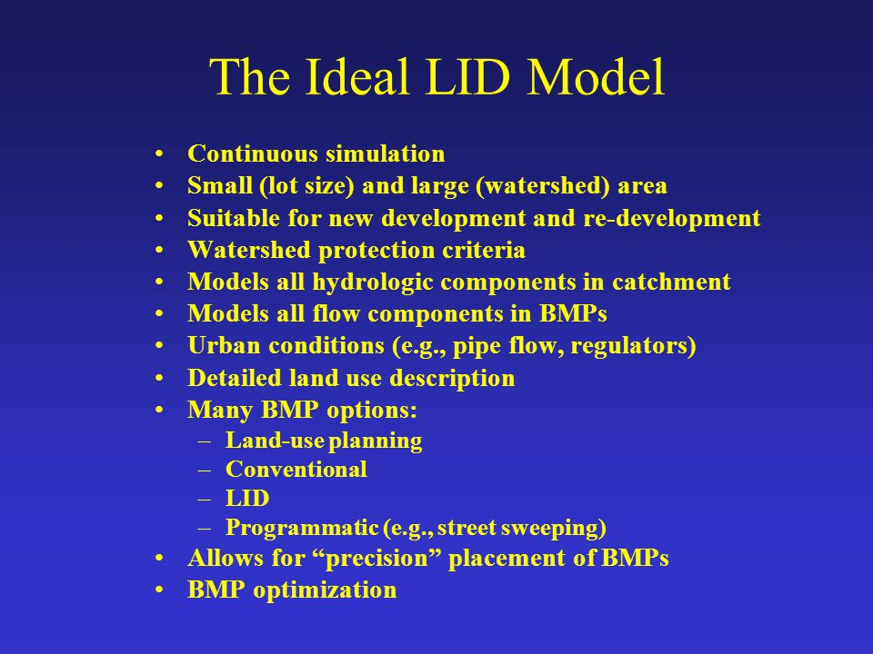 The Ideal LID Model Continuous simulation