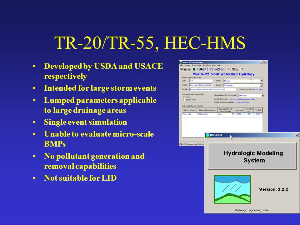 TR-20/TR-55, HEC-HMS Developed by USDA and USACE respectively