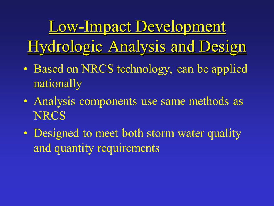 Low-Impact Development Hydrologic Analysis and Design