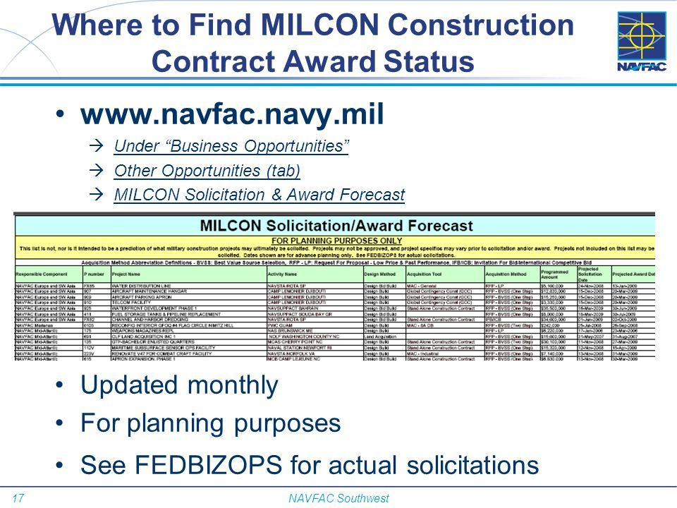 Where to Find MILCON Construction Contract Award Status