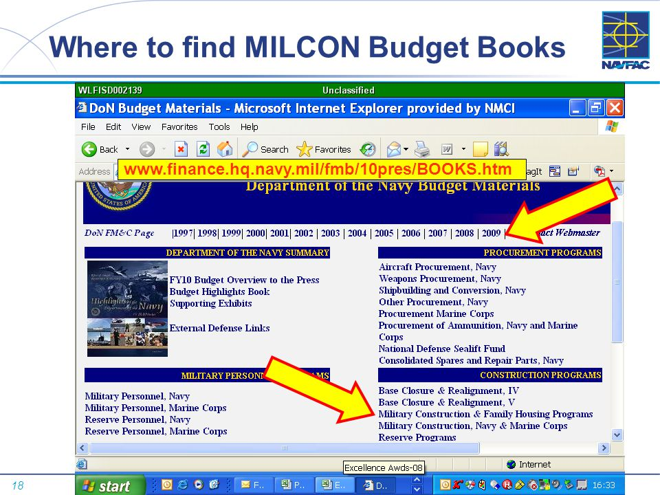 Where to find MILCON Budget Books