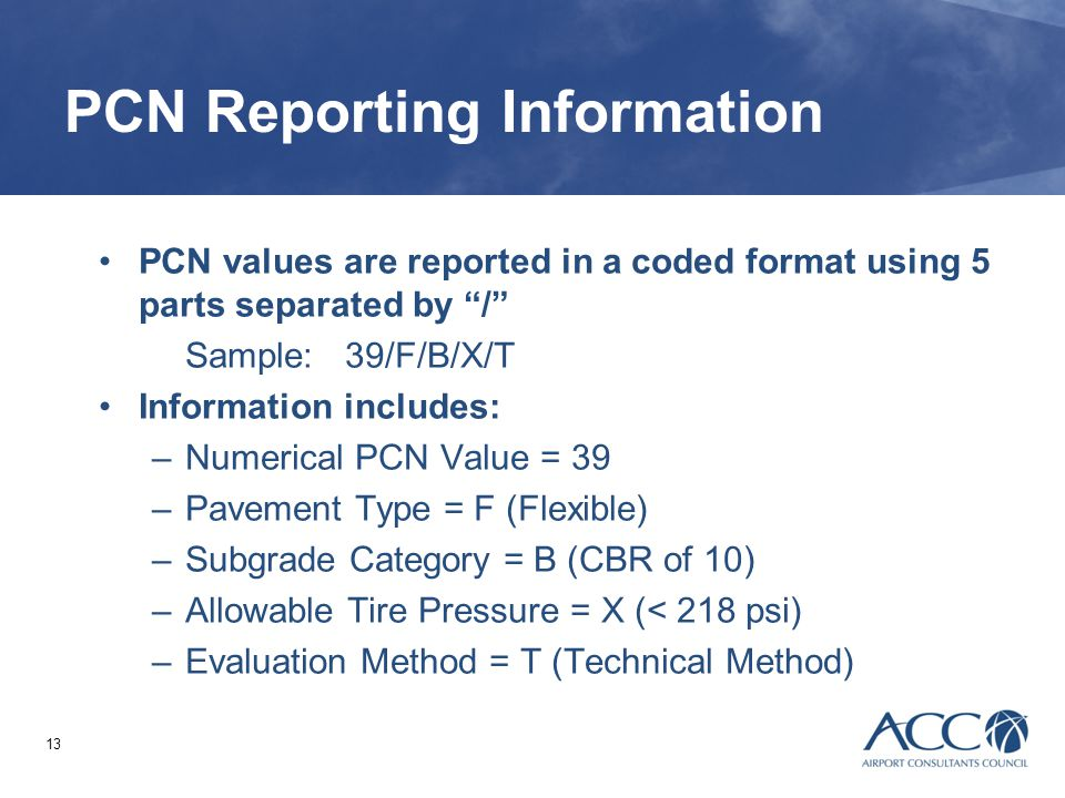 PCN Reporting Information