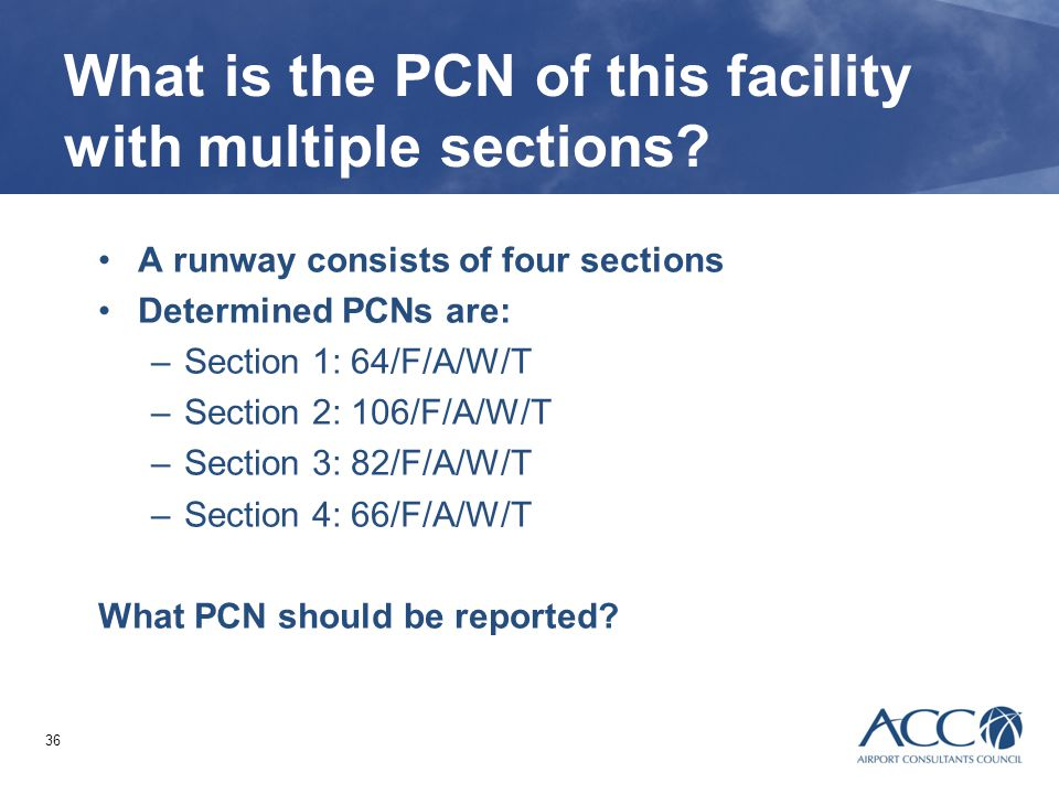 What is the PCN of this facility with multiple sections