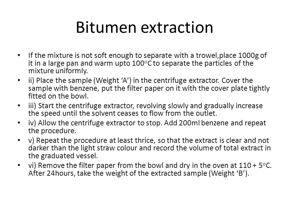 Bitumen extraction