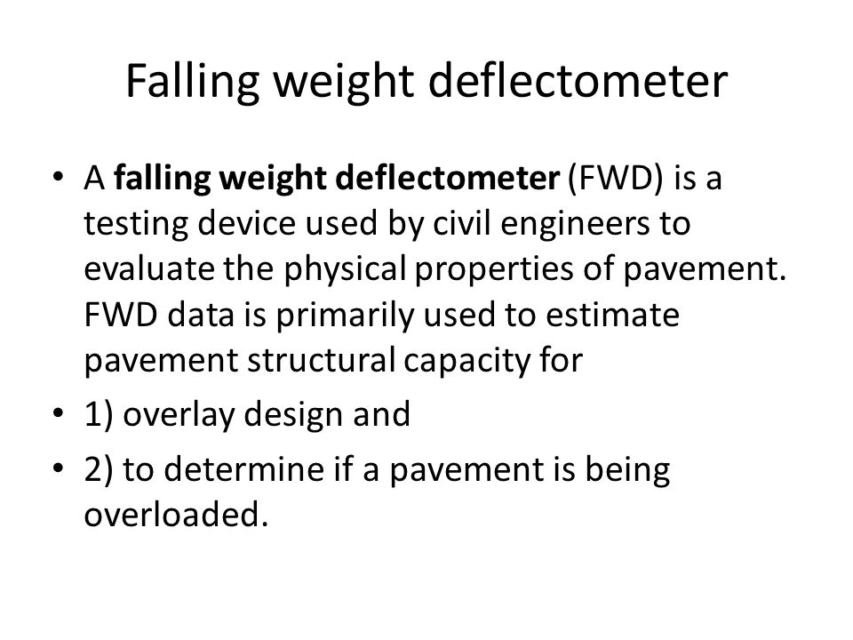Falling weight deflectometer