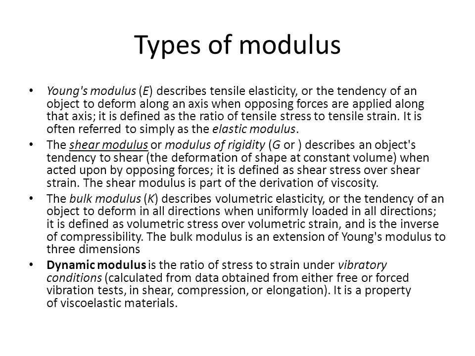 Types of modulus