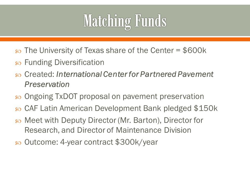 Matching Funds The University of Texas share of the Center = $600k