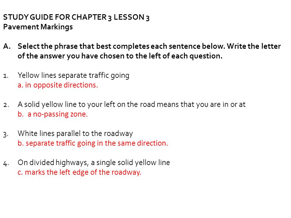 STUDY GUIDE FOR CHAPTER 3 LESSON 3