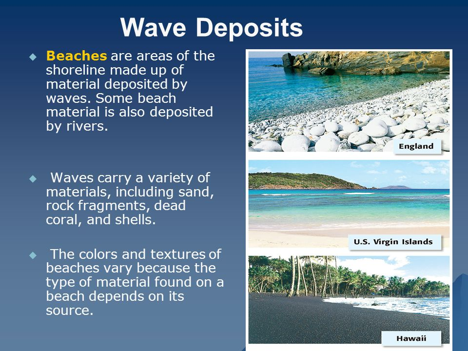 Wave Deposits Beaches are areas of the shoreline made up of material deposited by waves. Some beach material is also deposited by rivers.