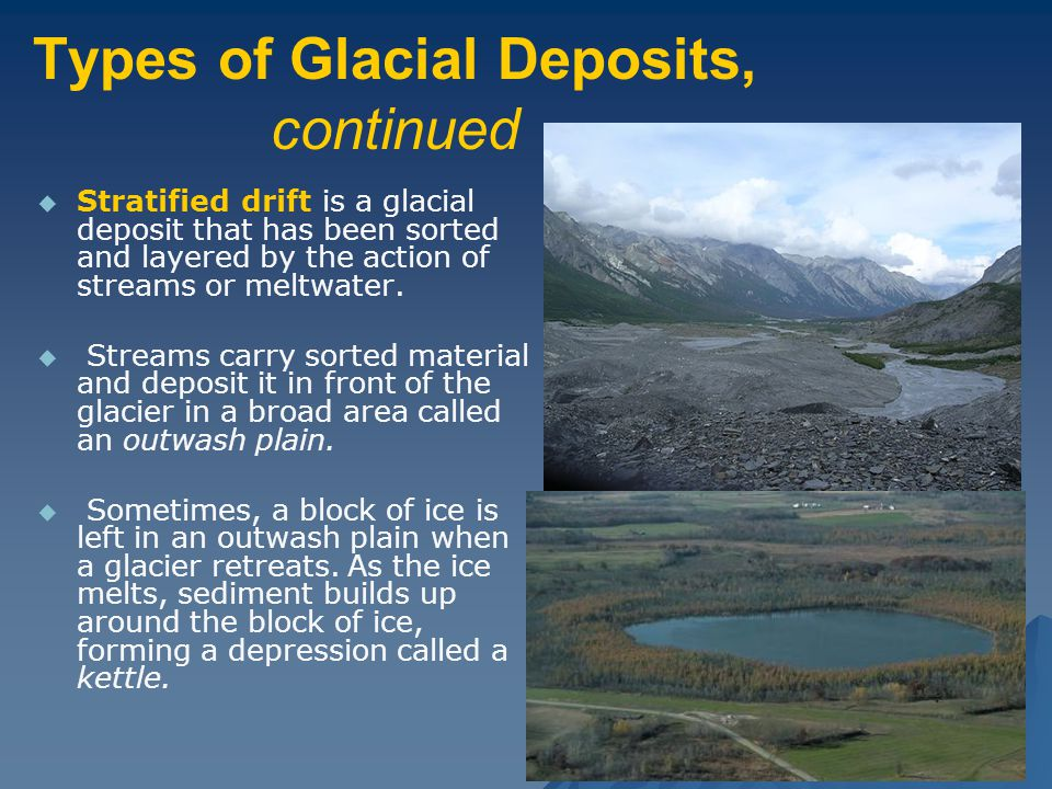 Types of Glacial Deposits, continued