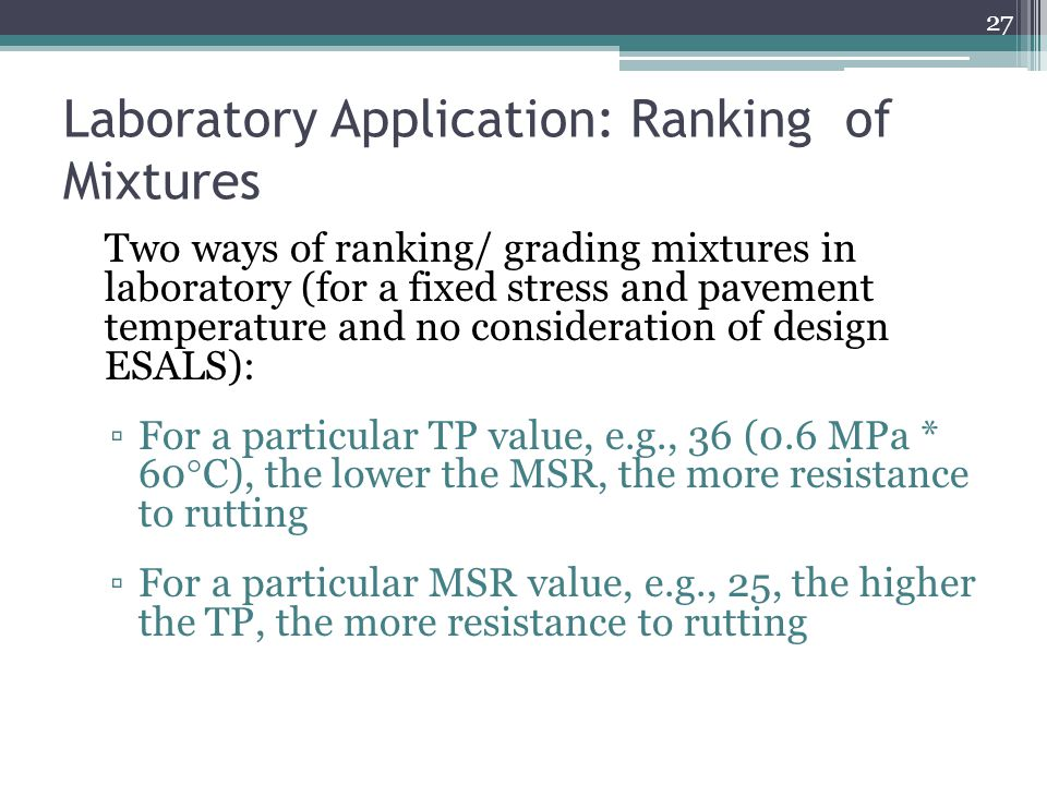 Laboratory Application: Ranking of Mixtures