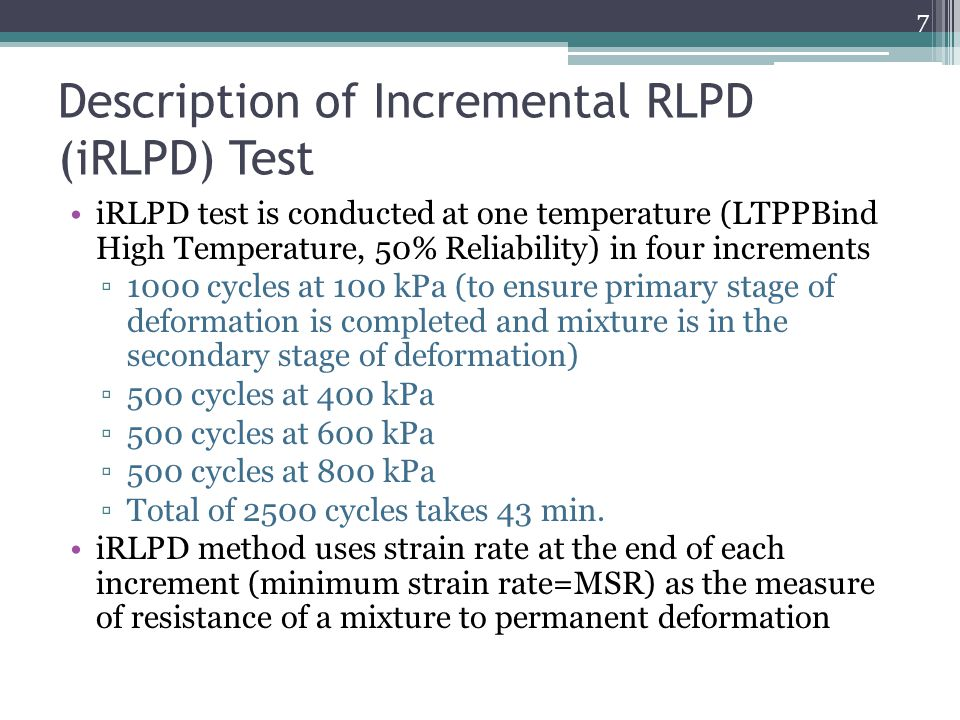 Description of Incremental RLPD (iRLPD) Test