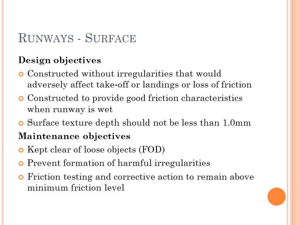Runways - Surface Design objectives
