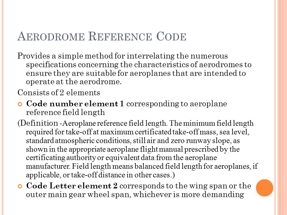 Aerodrome Reference Code