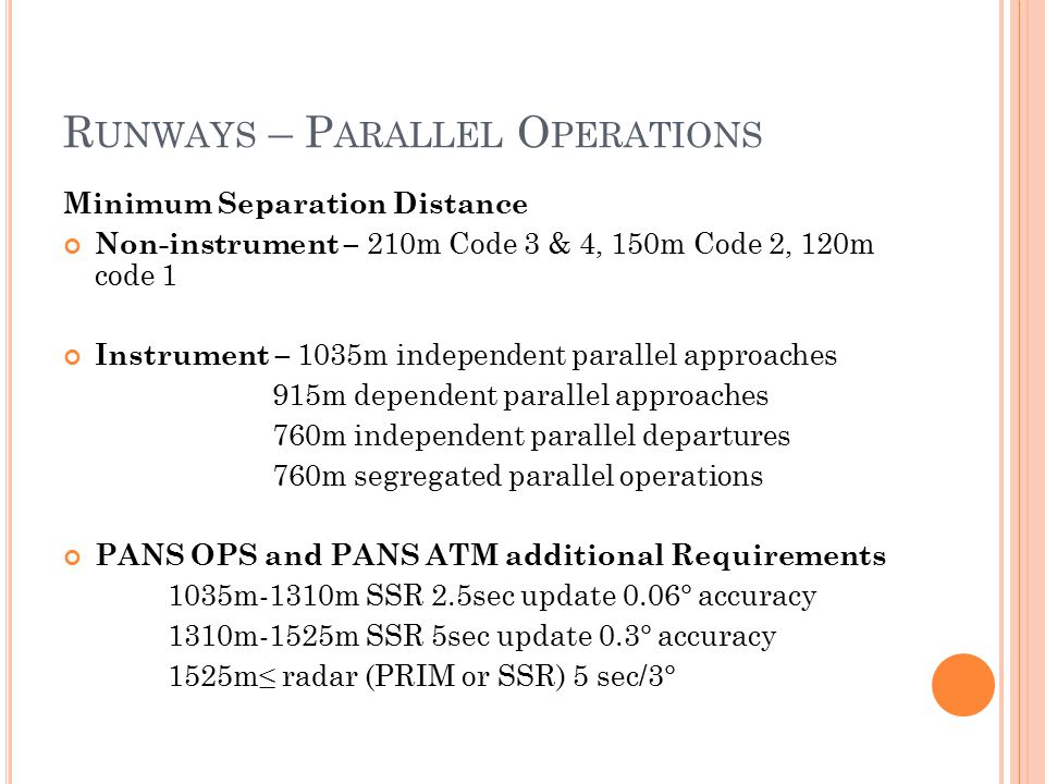 Runways – Parallel Operations