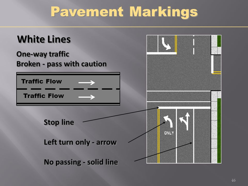 Pavement Markings White Lines One-way traffic