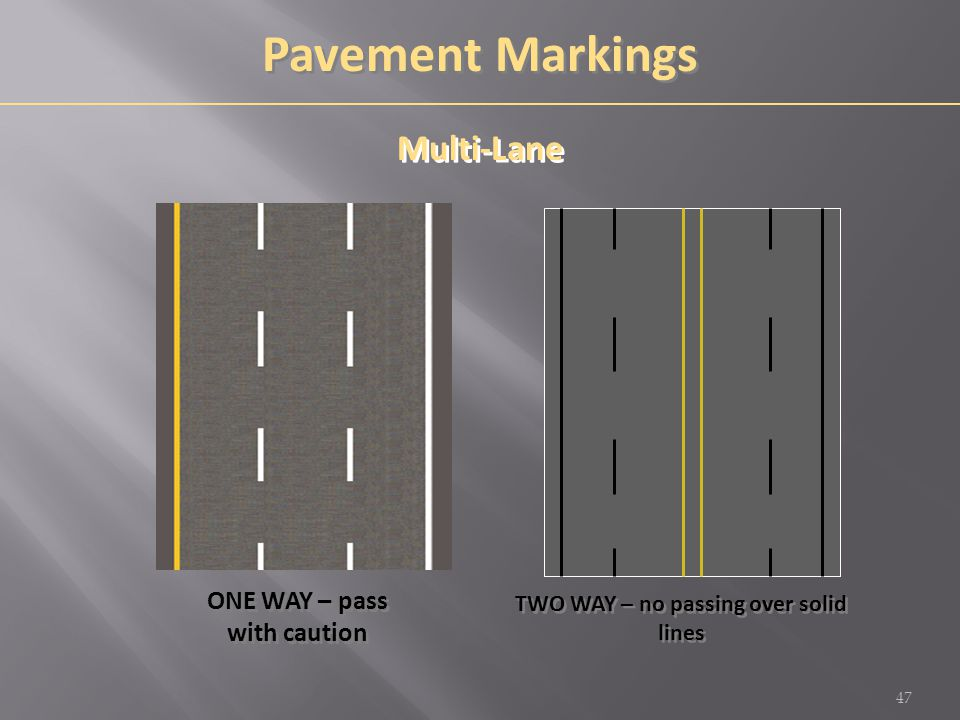 ONE WAY – pass with caution TWO WAY – no passing over solid lines