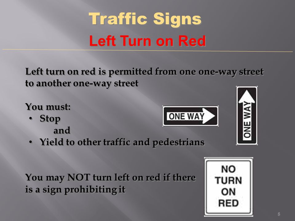 Traffic Signs Left Turn on Red