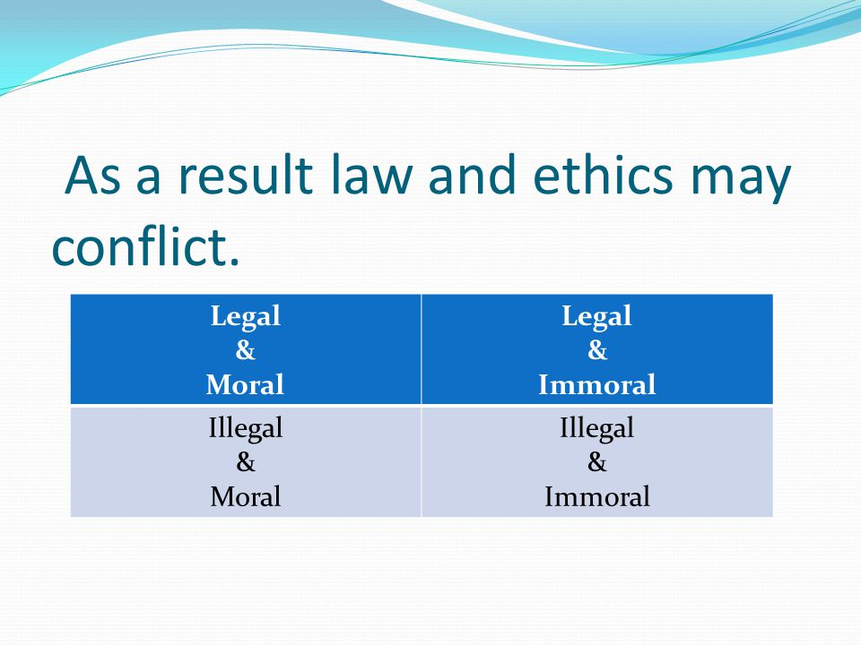 As a result law and ethics may conflict.