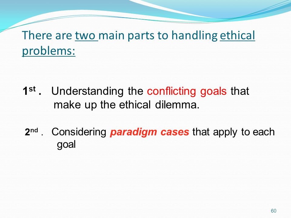 There are two main parts to handling ethical problems: