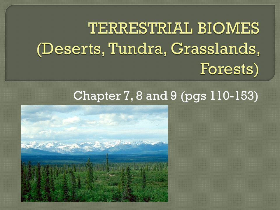 TERRESTRIAL BIOMES (Deserts, Tundra, Grasslands, Forests)