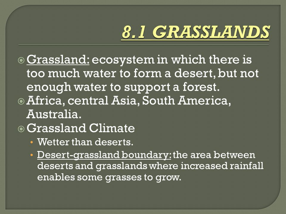 8.1 GRASSLANDS Grassland: ecosystem in which there is too much water to form a desert, but not enough water to support a forest.