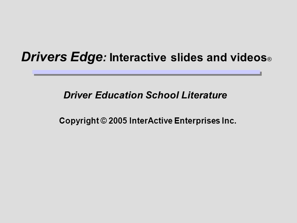 Driver Education School Literature