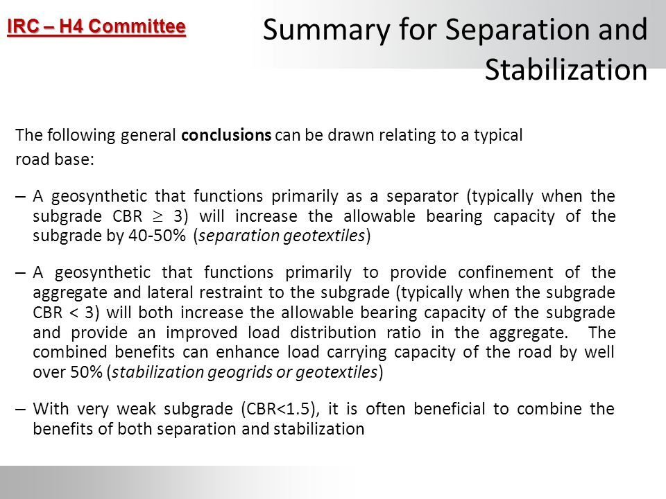 Summary for Separation and Stabilization