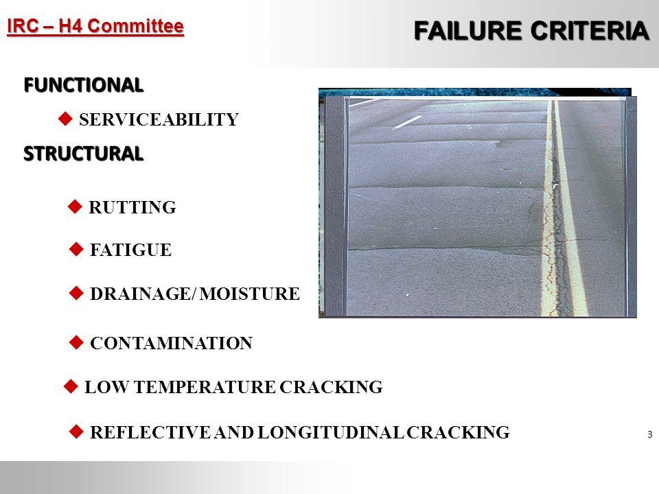 FAILURE CRITERIA FUNCTIONAL STRUCTURAL SERVICEABILITY RUTTING FATIGUE