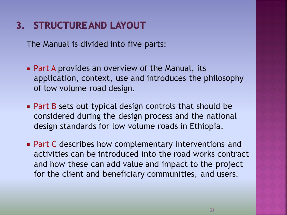 3. Structure and Layout The Manual is divided into five parts: