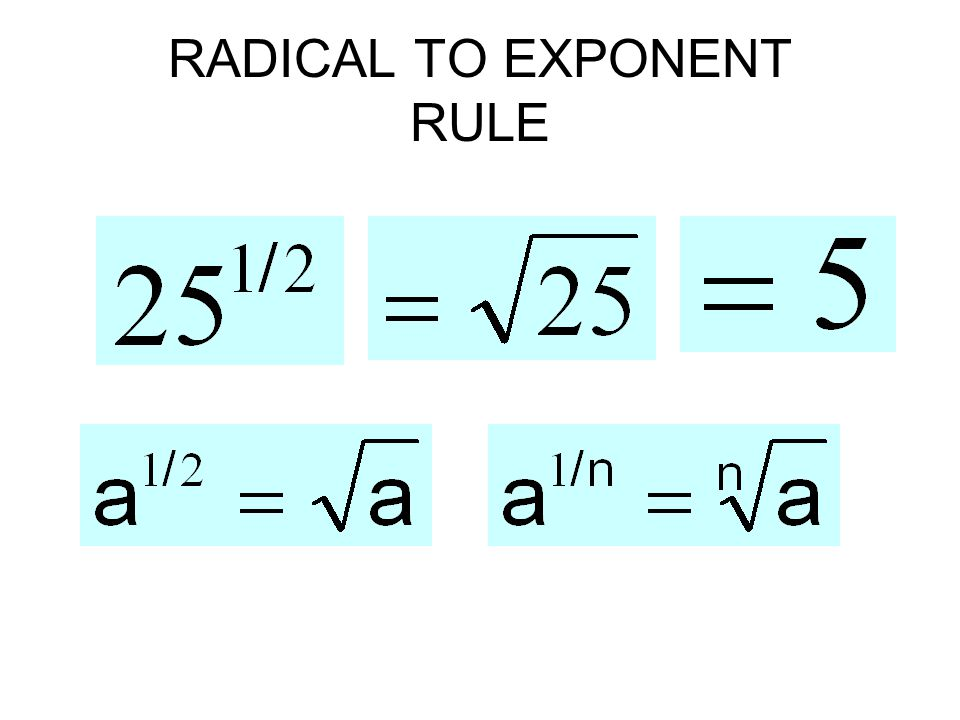 RADICAL TO EXPONENT RULE