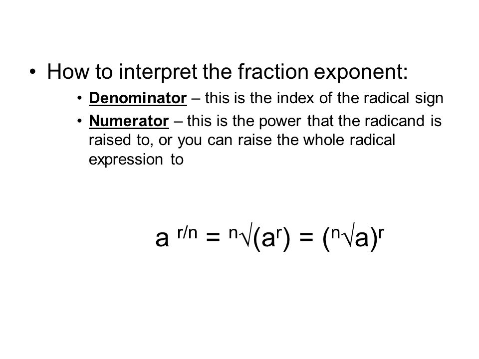 How to interpret the fraction exponent: